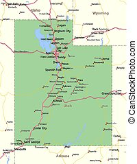 Map of Utah. Shows state borders, urban areas, place names, roads and highways. Projection: Mercator.