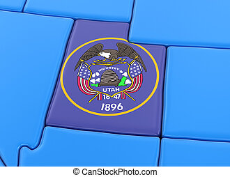 Map of Utah state with flag