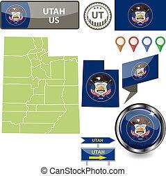Map of Utah, US