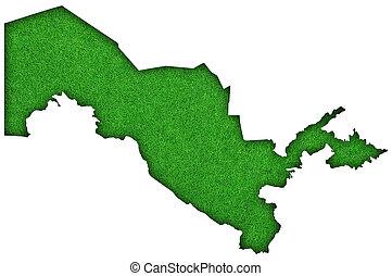 Map of Uzbekistan on green felt