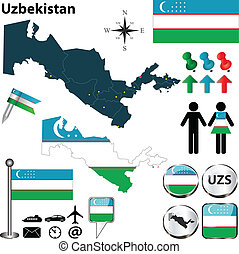 Vector of Uzbekistan set with detailed country shape with region borders, flags and icons