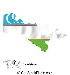 Map of Uzbekistan with flag