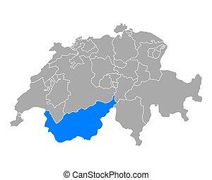 Map of Valais in Switzerland
