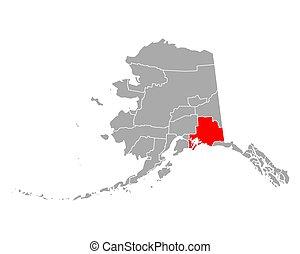 Map of Valdez-Cordova in Alaska