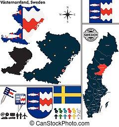 Map of Vasternorrland, Sweden