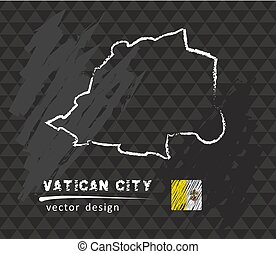 Map of Vatican City, Chalk sketch vector illustration