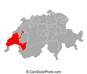 Map of Vaud in Switzerland