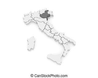 Map of Veneto. Italy. 3d