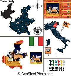Vector map of region Veneto with coat of arms and location on Italy map