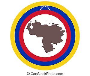 Map of Venezuela on background with flag