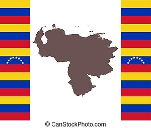 Map of Venezuela on background with flag