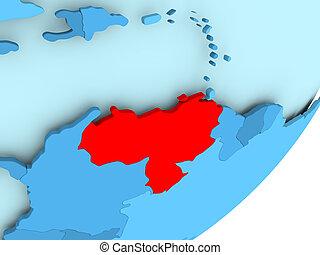 Map of Venezuela on blue political globe