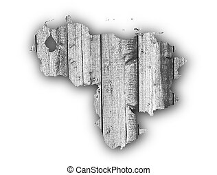 Map of Venezuela on weathered wood