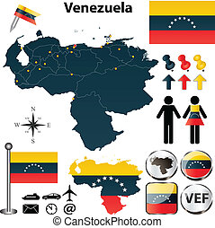 Vector of Venezuela set with detailed country shape with region borders, flags and icons