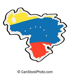 Map of Venezuela with its flag