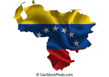 Map of Venezuela with national flag on fabric surface.