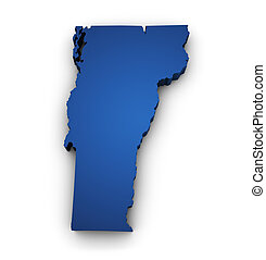 Map Of Vermont 3d Shape - Shape 3d of Vermont map colored in...
