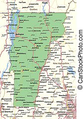 Vermont - Map of Vermont. Shows state borders, urban areas, ...