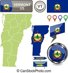 Map of Vermont, US