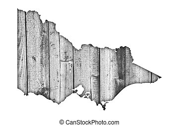 Map of Victoria on weathered wood
