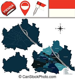 Map of Vienna, Austria with Named Districts - Vector map of...