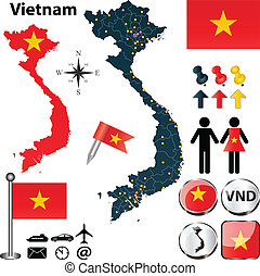 Map of Vietnam - Vector of Vietnam set with detailed country...
