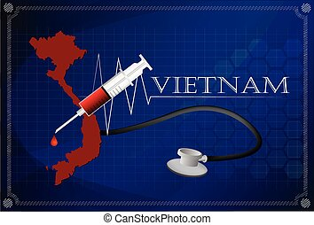 Map of Vietnam with Stethoscope and syringe.