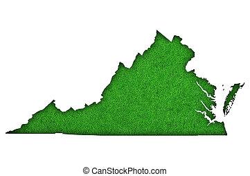 Map of Virginia on green felt