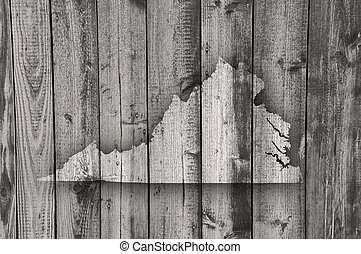 Map of Virginia on weathered wood
