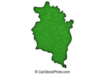 Map of Vorarlberg on green felt