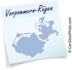 Map of Vorpommern-Ruegen as sticky note in blue