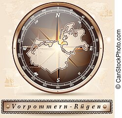 Map of Vorpommern-Ruegen with borders in bronze
