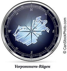 Map of Vorpommern-Ruegen with borders in chrome