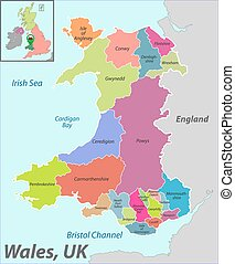 Map of Wales with Districts