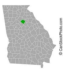 Map of Walton in Georgia