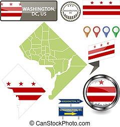 Map of Washington, DC, US