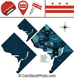 Map of Washington DC with Districts