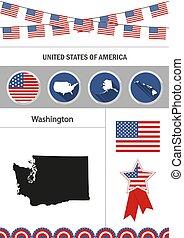 Map of Washington. Set of flat design icons nfographics elements