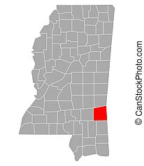 Map of Wayne in Mississippi