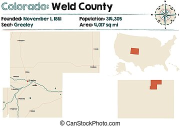 Map of Weld County in Colorado - Large and detailed map of ...