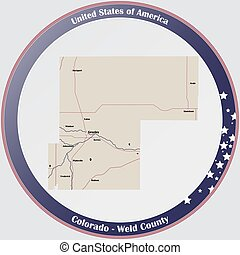 Map of Weld County in Colorado - Round button with detailed ...