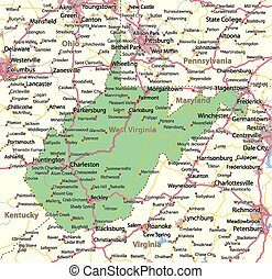 West Virginia - Map of West Virginia. Shows state borders, ...