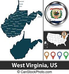 Map of West Virginia, US