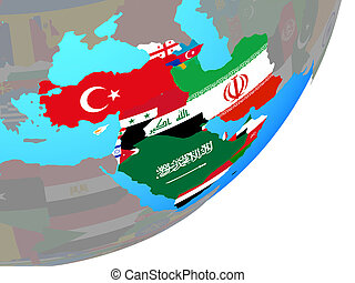 Map of Western Asia with flag on globe