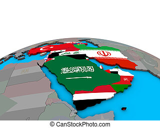 Map of Western Asia with flags on globe