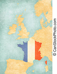 Map of Western Europe - France - France (French flag) on the...