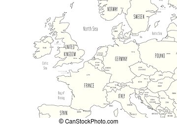 Map of Western Europe. Handdrawn doodle style. Vector ...