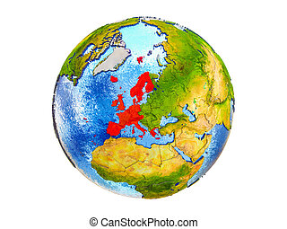 Map of Western Europe on 3D Earth isolated - Western Europe ...