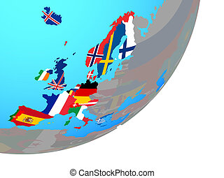 Map of Western Europe with flag on globe - Western Europe ...