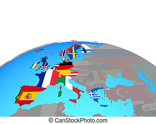 Map of Western Europe with flags on globe - Western Europe ...